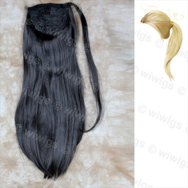 Wiwigs Black Brown 1 Piece Straight Clip In Ladies Ponytail Wrap Hair Extension