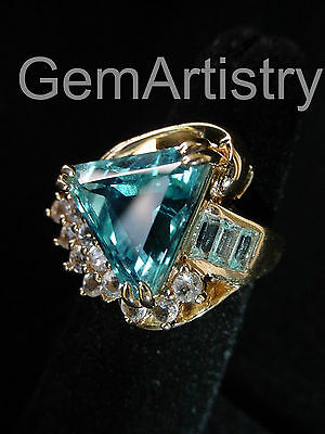 10K Solid Yellow Gold Ring - Large Swiss Blue Topaz Trilliant Cut - Very Unique!