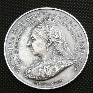 """Huge 2"""" (50mm) 1897 Queen Victoria Diamond Jubilee & British Commerce Medal"""
