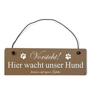Buntes Shabby Chic Vintage Schild Vorsicht hier wacht unser Hund Dekoschild Türs