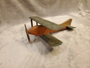 Vintage Folk Art Airplane Hand Carved Wooden & Painted - Original Hand Carved