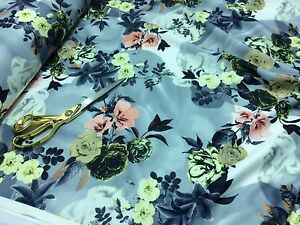*NEW*Poly Viscose Patchwork Stretch Jersey Floral Dress//Craft//Cushion Fabric