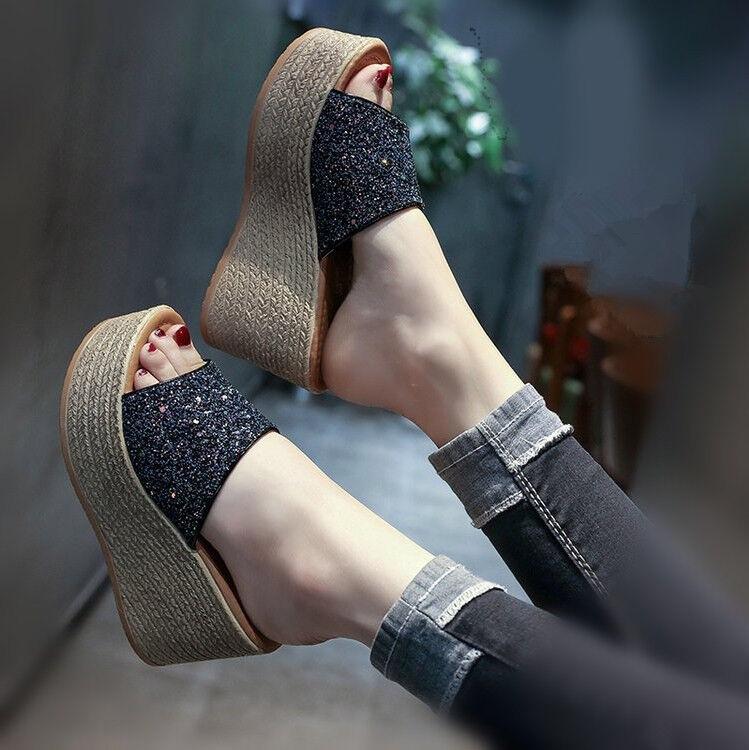 Womens Girls Girls Womens Platform Slippers Shoes Wedge High Heel Sequins Open Toe Sandals Sz 0cdd99