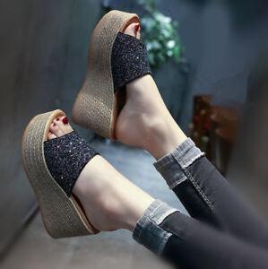 Womens-Girls-Platform-Slippers-Shoes-Wedge-High-Heel-Sequins-Open-Toe-Sandals-Sz
