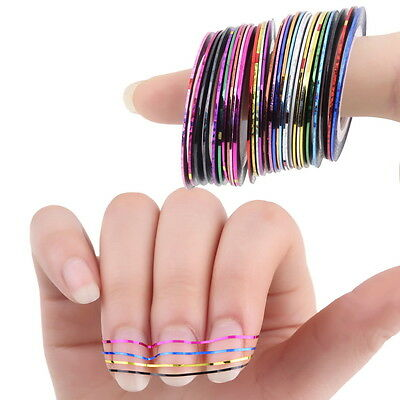 30 Pcs Mixed Colors Rolls Striping Tape Line Nail Art Tips Decoration Sticker GS