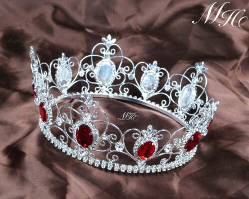 Red Simulated Ruby Crown Round Crystal Tiara Hair Jewelry Pageant Party Costumes