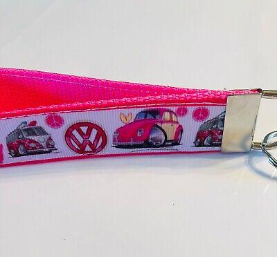 Key Fob Chain Holder Wrist Lanyard Strap VW Slug Bug Beetle Bus Hot Pink Retro