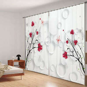 Image Is Loading Red Flower In Corner 3D Blockout Photo Curtain