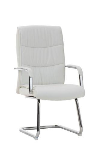Sedia da ufficio a slitta CP511 cromo ecopelle design moderno bianco D