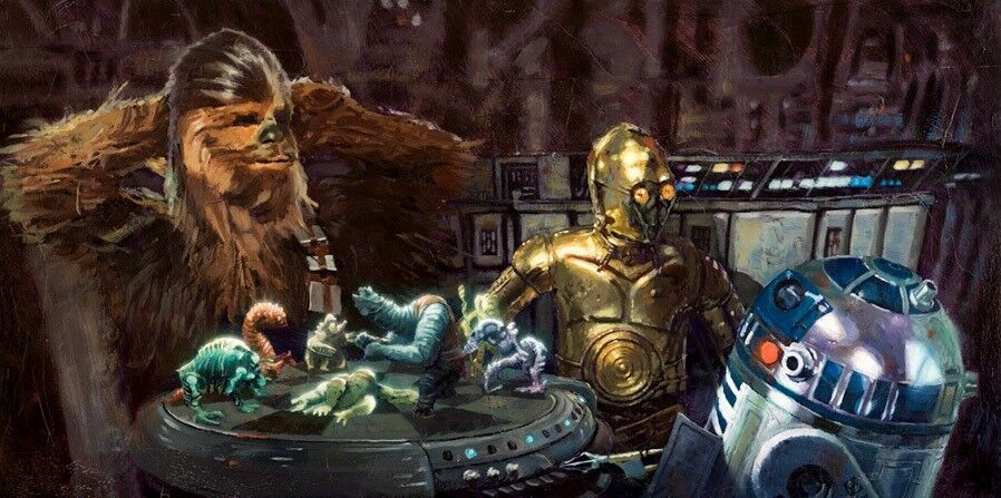 Star Wars IV Chewie Chewbacca R2D2 C3PO Let The Wookiee Win Star Wars Chess Art
