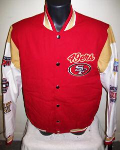 watch ea16d c4cc5 Details about SAN FRANCISCO 49ERS 5 Time Super Bowl CHAMPIONSHIP Jacket  Sewn Logos M L XL 2X