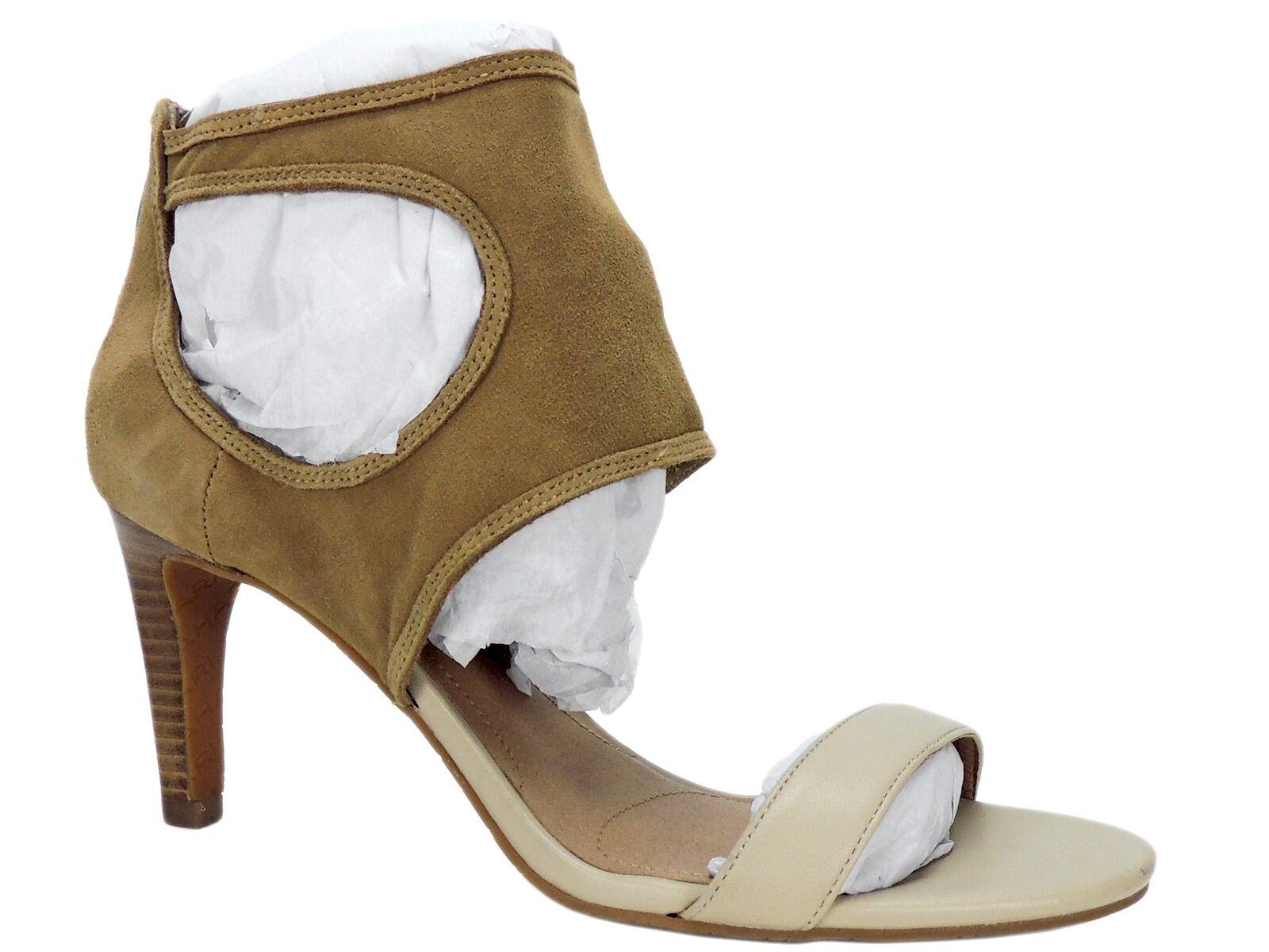 Tahari Women's National Dress Sandals Cream Fawn Leather Size 8.5 M