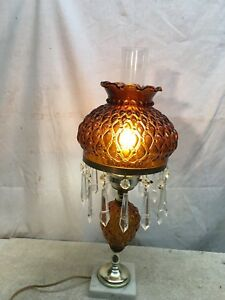Details About Vintage Amber Glass Mid Century Table Lamp With Glass Crystals