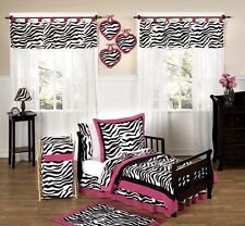 Jojo Designs Pink Black and White Zebra Print Girl Toddler Kid Bedding Sheet Set