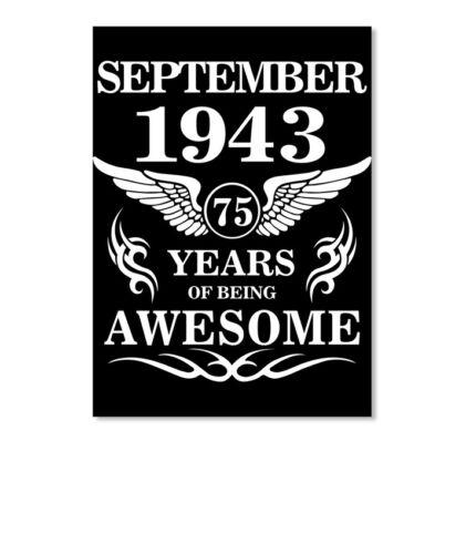 Portrait Details about  /September 1943-75th Birthday Gift Sticker