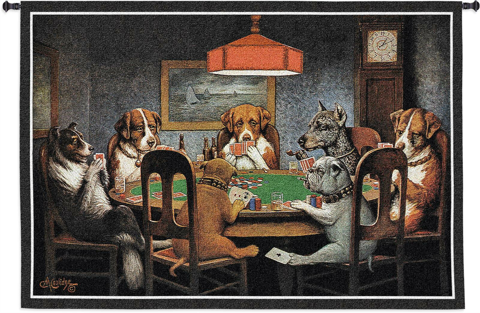 DOGS PLAYING POKER TAPESTRY  Cards Friends Bulldog Cigars Man Cave WALL HANGING
