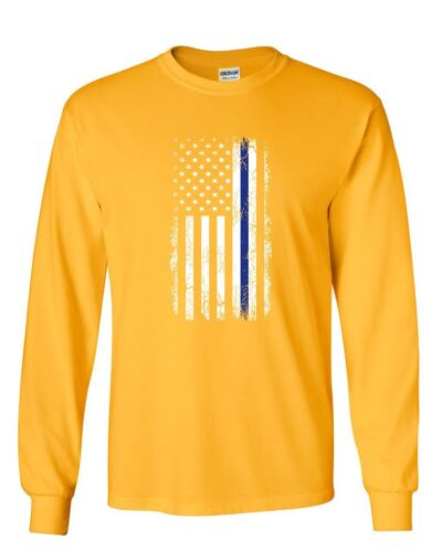 Thin Blue Line American Flag Long Sleeve T-Shirt Stars and Stripes Police Tee