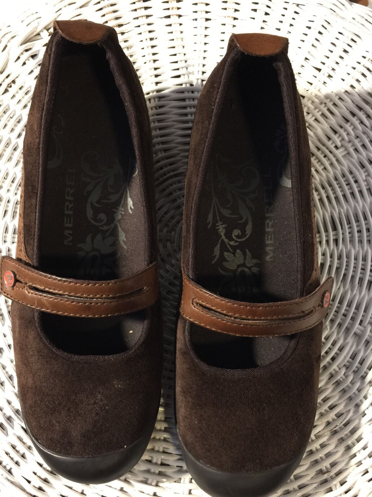 shoes, Women's BY MERRELL, Chocolate brown genuine leather suede Sz8M Nearly new