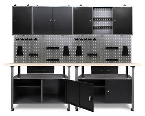 Ondis24 Werkstatt Set 240cm 2x Werkbank Metall 3x Werkzeugschrank Lochwand Haken