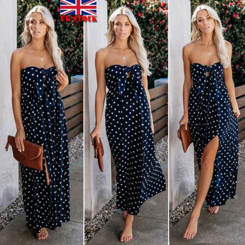 UK Women Holiday Off Shoulder Dress Ladies Maxi Long Summer Split Beach Sundress