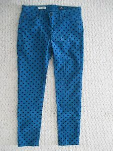 AG-Adriano-Goldschmied-The-Stevie-Ankle-slim-straight-polka-dot-Pant-Size-27-R