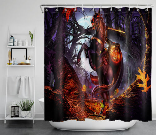 Halloween Headless Horseman Pumpkin Lantern Waterproof Fabric Shower Curtain 72/""