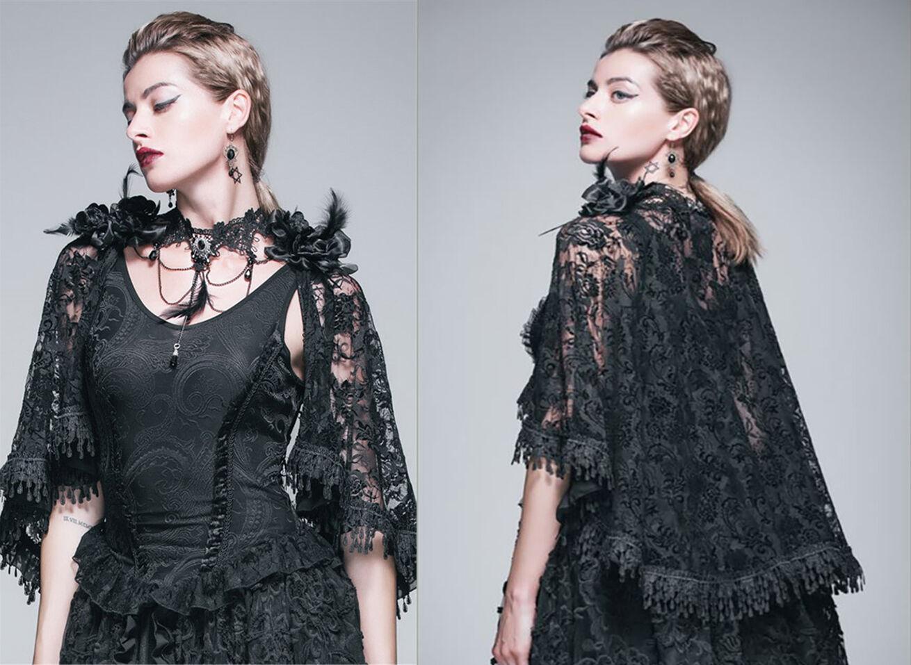 Devil Fashion Top SET Cape Umhang Shirt Gothic Blause Nugoth Spitze Rosan TT026