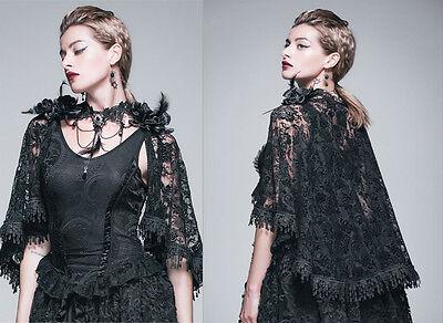 Devil Fashion Top SET Cape Umhang Shirt Gothic Bluse Nugoth Spitze Rosen TT026