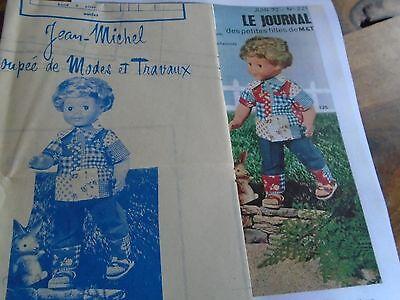 """T6 PATRON POUPEE MICHEL /"""" MODES ET TRAVAUX/"""" ROBE DE CHAMBRE EN LAINAGE 1973"""