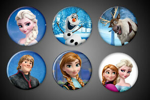 Frozen-Movie-Pins-Elsa-Anna-Olaf-Sven-Kristoff-Set-Pinback-badge-Disney-Set