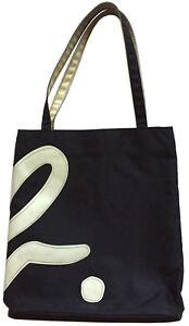 47dbf604888 AGNES B. VOYAGE Vtg Black Nylon Shoulder Tote Bag (White Vinyl