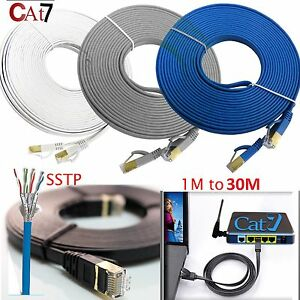 Gold-Plated-Cat7-RJ45-10Gbps-Flat-Ultra-Thin-Ethernet-Network-PC-Patch-Cable-LOT