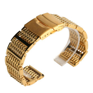 20-22-24mm-Gold-Stainless-Steel-Shark-Mesh-Watch-Band-Bracelet-Strap-Wristband