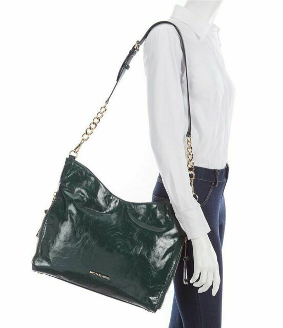 0591b8c22e Michael Kors Devon Large Shoulder Tote Shiny Crinkle Leather Luxe Teal
