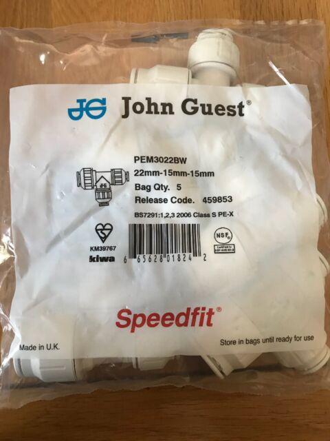 John Guest JG Speedfit Reducing Tee 22x15x15mm PEM3022BW