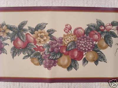 FREE SHIPPING burgandy, purple, gold & tan  fruit & floral wallpaper border