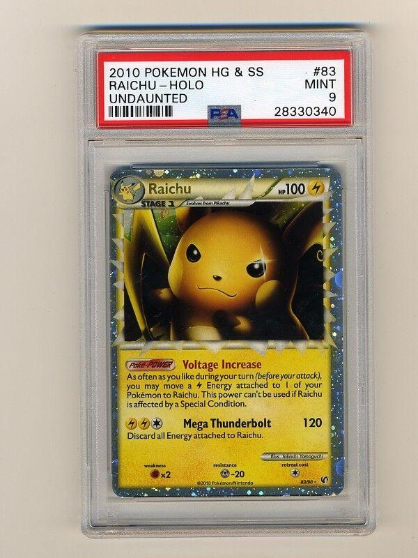 Pokemon PSA 9 Mint Raichu Prime Undaunted Inglés Holograma Tarjeta Hgss 83 90