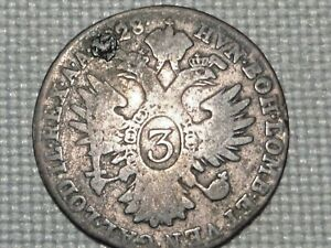 Austria-Empire-Hapsburg-Franz-II-3-Silver-Kreuzer-1828-Crowned-Double-Head-Eagle
