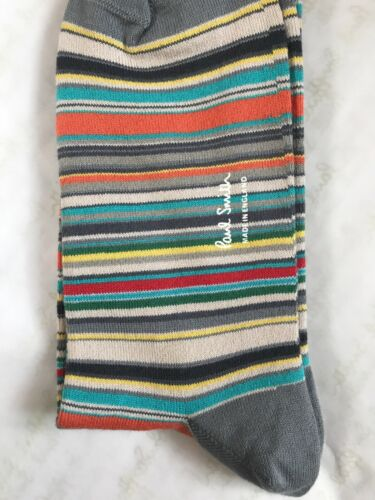 Paul Smith Hommes Chaussettes à Rayures MADE IN ENGLAND Gris