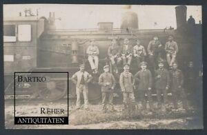 Foto I.WK Dampflok G 5 Heimats-BW Wittenberge mit Heizern und Soldaten