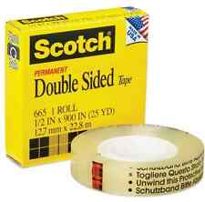3M #665 Scotch double sided tape 1/2 inch X 25 yd X ONE roll
