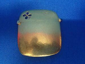 Art Nouveau 18K Solid Gold Clover Shamrock Diamonds Sapphires Vesta Case Box !