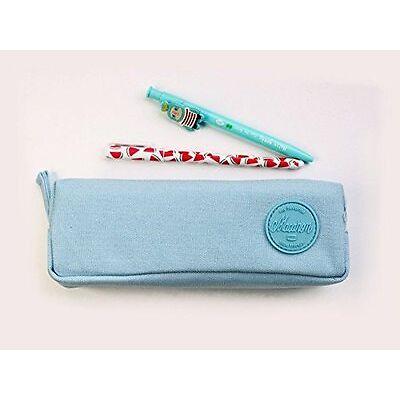 Trousse à crayons, trousse scolaire ou trousse maquillage série Macaron (Bleu)