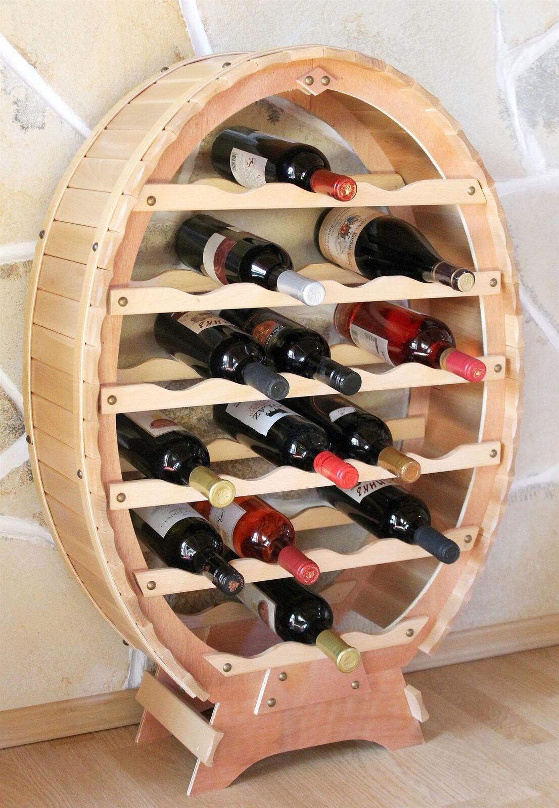 Weinregal Holz Weinfass Flaschenregal 24 Flaschen Natur Bar Flaschenständer Fass