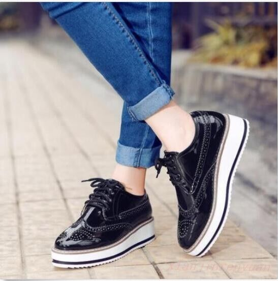 Shiny Womens Brogues Oxfords Platform Casual Creepers Wingtip Lace Up shoes