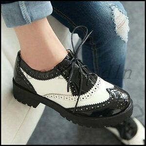 Ladies-Retro-British-Brogue-Creepers-Oxfords-Lace-Up-Block-Heels-Casual-Shoes-SZ