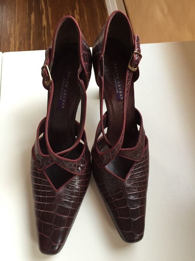 RALPH LAUREN Purple Label Collection Genuine Alligator Elegant Heels shoes 8B