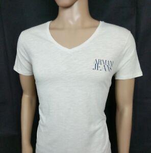 0c58f4571af Armani Jeans Mens T Shirt Slim Fit Light Beige Spellout V Neck Top ...