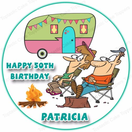 Personalised Camping Caravan Couple Camp Edible Icing Birthday Party Cake Topper