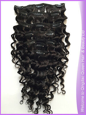 Deep Curl Clip In Human Hair Extension Deep Curly Clip On Hair Natural Black